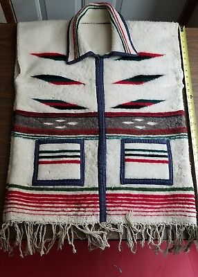 Vintage Native American Indian Navajo Hand Made Wool Textile Vest Size 42