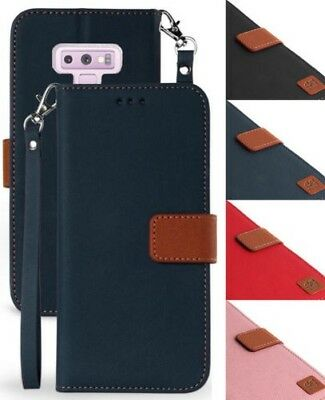 Durable Wallet Case ID Slot Cover Stand + Wrist Strap for Samsung Galaxy Note 9