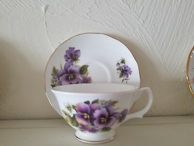Tea Cup and Saucer Golden Crown Fine Bone China White with Purple Flowers made i
