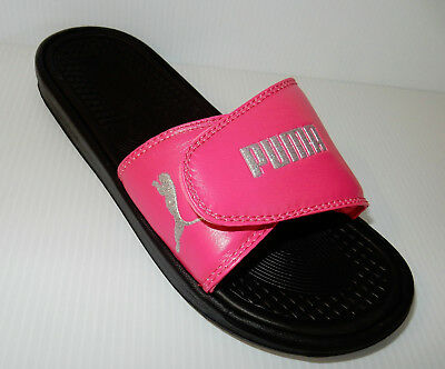 cd66ac066783 NEW PUMA Women Hot Pink Glitter Silver Puma Logo Adjustable Slide Sandals  Size 8