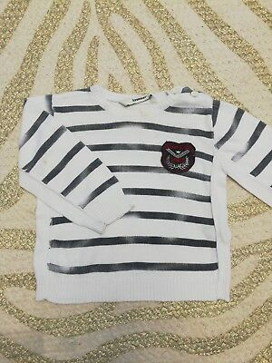 3 pommes Baby Boy Jumper Nautical style, White and Navy Used. Size 12 months