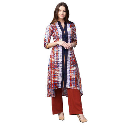 Women Orange A-Line Rayon Ethnic Kurta Kurti Tunic Kameez Traditional Wear Long