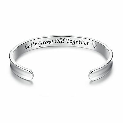 316L stainless steel 'I Love You Always and Forever' Grooved Cuff Bangle Bracele