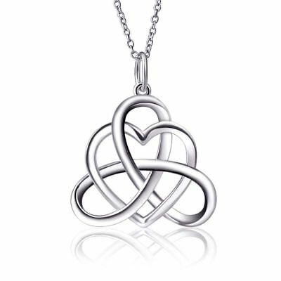 925 Sterling Silver Good Luck Irish Celtic Knot Vintage Triangle Heart Love Knot