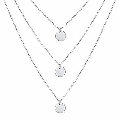 S925 Sterling Silver Triple Layer Pendant Dot Choker Necklace for Women