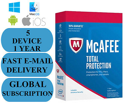 McAfee Total Protection 5 DEVICE 1 YEAR (SUBSCRIPTION) 2019 NO KEY CODE!