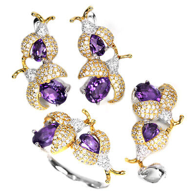 Natural 8X6 Mm. Purple Amethyst & White Cz Sterling 925 Silver Bug Set Size 8.25