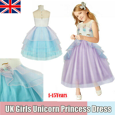 Girls Kid Flower Bridesmaid Skirt Unicorn Tutu Formal Party Fancy Princess Dress