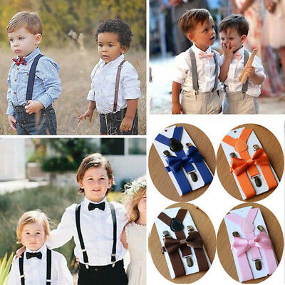 NEW Elastic Suspender and Bow Tie Sets for Girls Boys Kids Childs