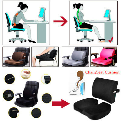 Memory Foam Orthoped Seat Cushion Back Support & Lumbar Pain Relief Pillow