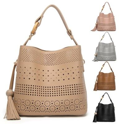 2PCS Fashion Women Hollow PU Child+Mother Bags Set Tote Cross Body Purse Satchel