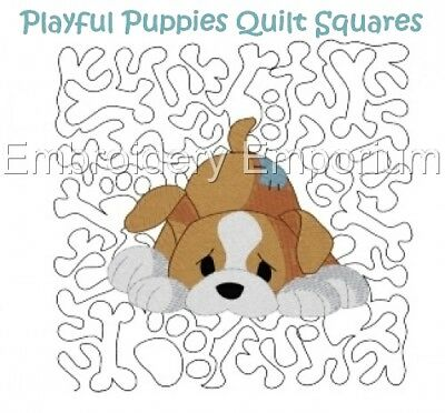 Playful Puppies Quilt Squares Collection - Machine Embroidery Designs On Cd