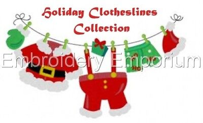 Holiday Clotheslines Collection - Machine Embroidery Designs On Cd