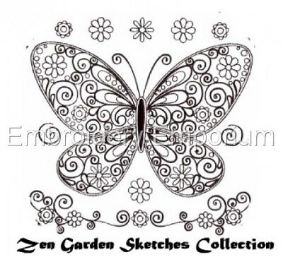 Zen Garden Sketches Collection - Machine Embroidery Designs On Cd