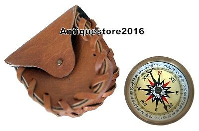 """Antiques Brass Vintage Maritime 2"""" Pocket Compass With Leather Case X-Mas Gift"""