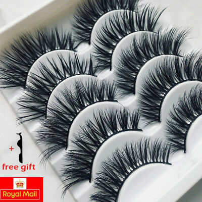 5Pairs 3D Soft False Eyelashes Natural Long Wispy Cross Fake Eye Lashes Set Mink