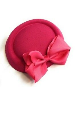 Pink Bow Pill Box Hat with Clips