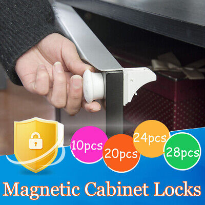 30PCS Magnetic No Drilling Cabinet Drawer Cupboard Locks Baby KidS Safety Lock