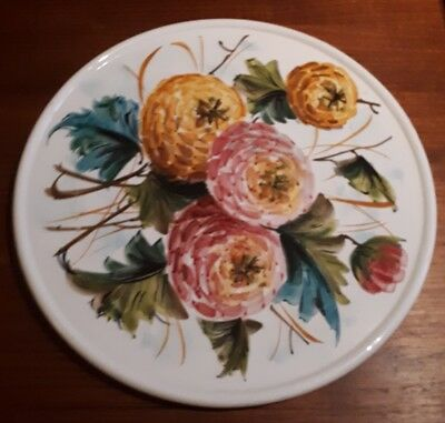 vintage pottery hand painted (Deruta style) round serving platter made in Italy