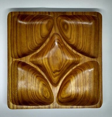 Vintage Mid Century solid wood 5 section nut dip serving tray divided dish xmas