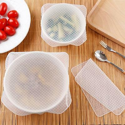 4 × Stretch Reusable Silicone Bowl Food Storage Wrap Cover Seal Fresh Lids Film