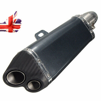 Motorcycle Exhaust 51mm Double Outlet Muffler Pipe Carbon Stainless Steel