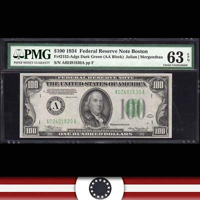1934 $100 BOSTON Federal Reserve Note FRN PMG 63 EPQ Fr 2152-a  A02491830A