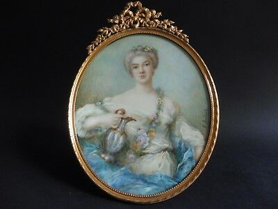 Madame de Pompadour very large French signed Miniature Painting Ormolu frame 8+""