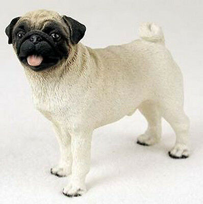 PUG (FAWN) DOG Figurine Statue Hand Painted Resin Gift Pet Lovers Tan