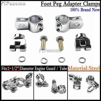 """Steel Motorcycle Footpegs Foot Pegs Mount Clamps For 1-1/2"""" Engine Guard / Tube"""