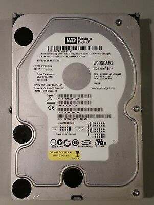 Western Digital 500 GB hard drive model WD5000AAKB-22UKA0  IDE 3.5""