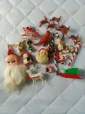 Vintage Christmas Lot Of 18 Plastic Craft Pieces Santa Reindeer Snowman