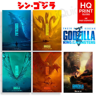 Godzilla King Of The Monsters Movie Character Posters 2019 | A4 A3 A2 A1