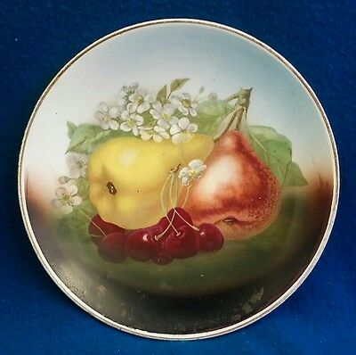 Beautiful Hand Painted Vintage Porcelain Pear Cherry Fruit Plate 9 1/4""