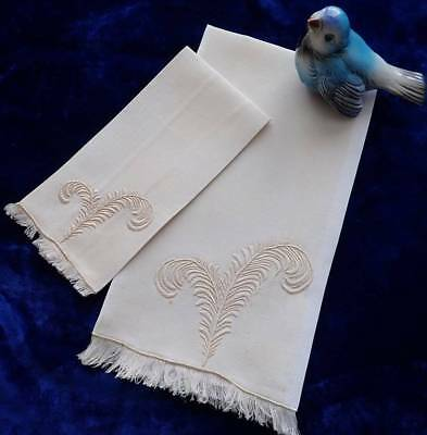 Vintage Set Of Marghab Madeira Feather Plume Hand Guest Towels