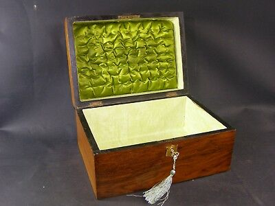 Antique Domed Box Lock & Key 1870 Brass Handle Silk Lined Lid.Sent Same Day