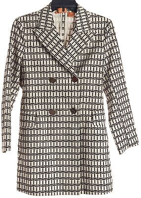 TORY BURCH Brown Ivory T Monogram Peacoat Jacket Size 4