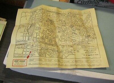 1930's Mary Dusaer Lace Store Brussels Belgium City Plan Street Map 10x13 Travel