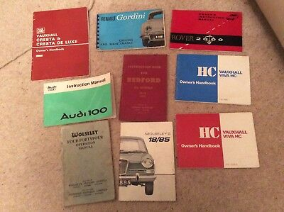 JOB LOT OF OLD owners/instruction Manuals Vauxhall.Wolseley,Rover,Audi & Renault