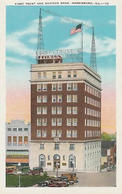 c1930 First Trust and Savings Bank US Flag Old Cars HARRISBURG IL ILLINOIS WB