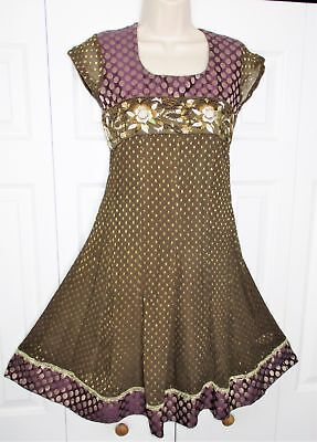 Vintage INDIAN Brown Crepe ANARKALI KURTI sz S Embroidery BOHO CHIC DRESS