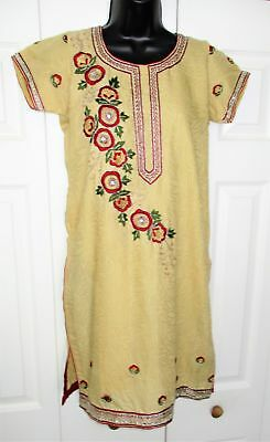 Vtg INDIAN PAKISTANI Womens KURTI KURTA DRESS TOP Embroidered CAFTAN TUNIC  sz M
