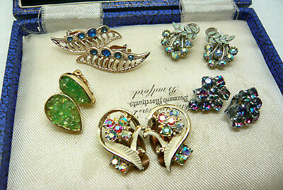 Vintage Jewellery Mixed Job Lot Of Rhinestone Earrings Clip On Various