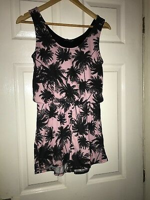 Ladies Size 8 Pink/Black Palm Tree Shorts Playsuit. Beach/Holiday