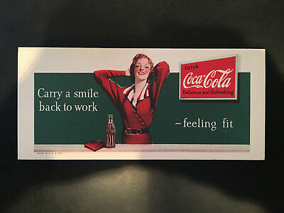 """1935 Coca Cola Blotter """"Carry a Smile Back To Work"""" Drink Coke NOS"""