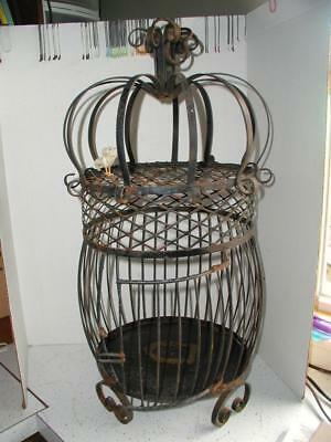 Antique/Vintage Wrought Iron Bird Cage Black Birdcage Hanging Table Top Ornate