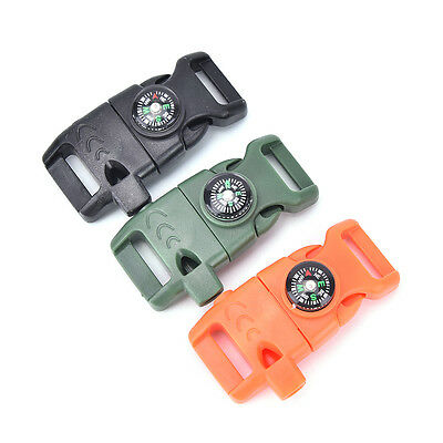 Buckle With Whistle Compass Flint Fire Starter Scaper For Paracord Bracelet G$CA