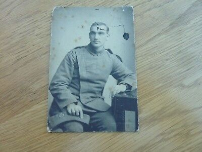 """Ww1 1915 Original Photo On Card Rfc Airman 5.5 X 4"""" Taken East Grinstead Stained"""