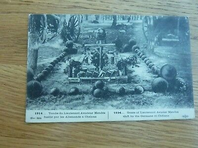 Ww1 Original Postcard Grave Of French Lt Pilot Mendes Shot By Germans At Chalons