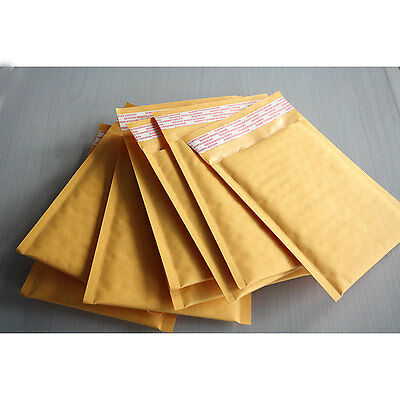 10X 140*160+40mm Kraft Bubble Bag Padded Envelopes Mailers Shipping Yellow G$CA